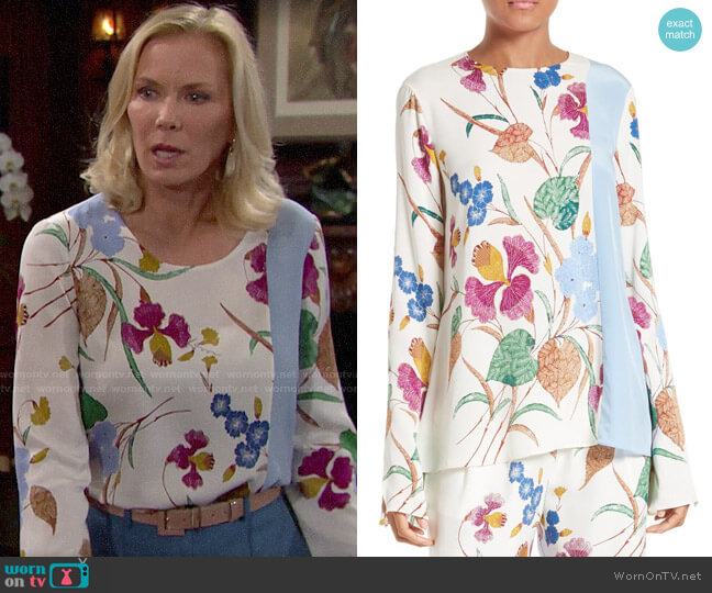 Diane von Furstenberg Slit Sleeve Print Stretch Silk Blouse worn by Brooke Logan (Katherine Kelly Lang) on The Bold & the Beautiful