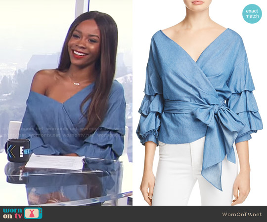 Do and Be Chambray Wrap Top worn by Zuri Hall on E! News