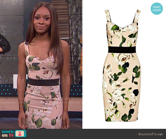 Dolce & Gabbana Rose-print crepe bustier dress worn by Zuri Hall on E! News