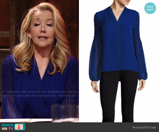 Elie Tahari Smocked Georgette Silk Blouse worn by Melody Thomas-Scott on The Young & the Restless