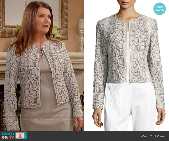 Elie Tahari Janet Python Jacket worn by Kimberlin Brown on The Bold & the Beautiful