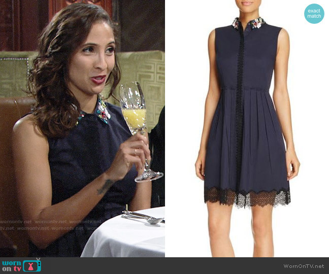 Elie Tahari Samiyah Dress worn by Christel Khalil on The Young & the Restless