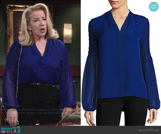 Elie Tahari Smocked Georgette Silk Blouse worn by Nikki Reed Newman (Melody Thomas-Scott) on The Young & the Restless