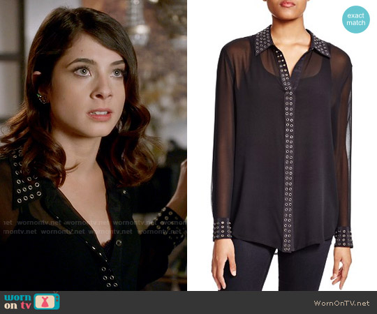 Equipment Reese Sheer Silk Grommet Trim Blouse worn by Alexis Gleen (Niki Koss) on Famous in Love