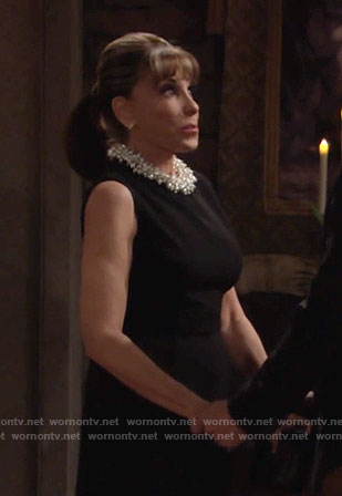 Esther's black dress with pearl collar on The Young and the Restless