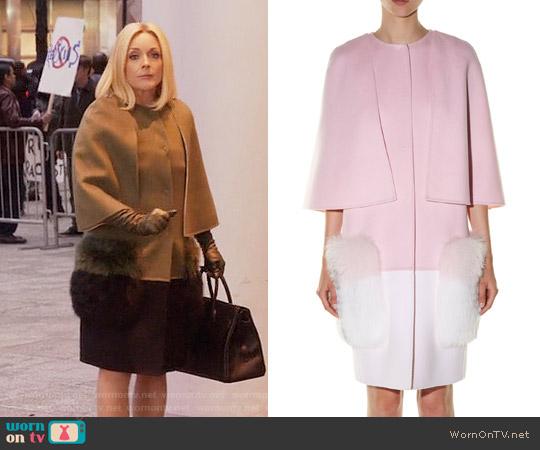 Fendi Fur-pocket Bi-colour Coat worn by Jacqueline Voorhees (Jane Krakowski) on Unbreakable Kimmy Schmidt