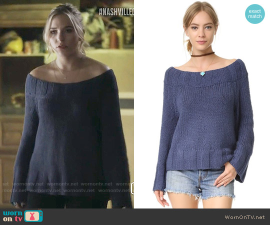 Free People Beachy Slouchy Pullover Sweater worn by Maddie Jaymes (Lennon Stella) on Nashville