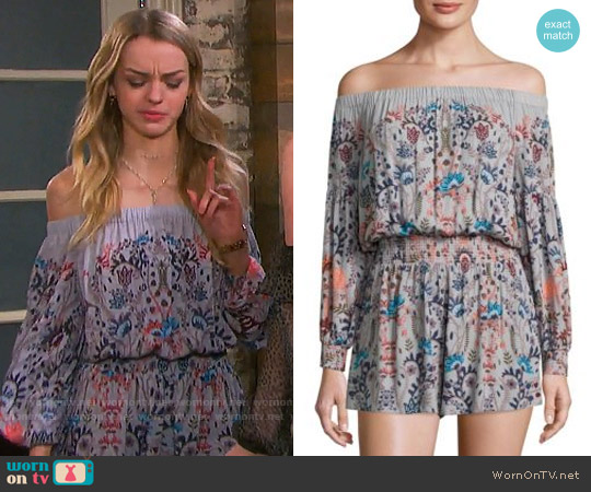 Free People Pretty and Free Off-the-Shoulder Floral Romper worn by Claire Brady (Olivia Rose Keegan) on Days of our Lives
