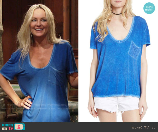 Free People Rising Sun Tee in Sapphire worn by Sharon Case on The Young & the Restless