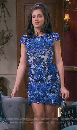 Gabi's blue lace cap-sleeve dress on Days of our Lives