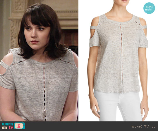 Generation Love Ladder Stitch Cold Shoulder Tee worn by Cait Fairbanks on The Young & the Restless