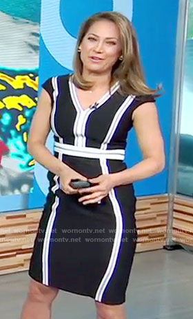 Ginger's black and white v-neck dress on Good Morning America