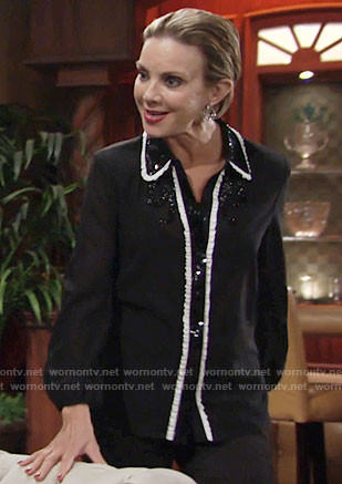 Gloria's black sequin shirt with white ruffle trim on The Young and the Restless
