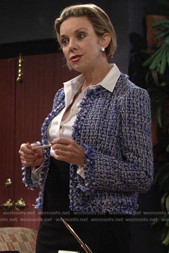 Gloria's blue tweed jacket on The Young and the Restless