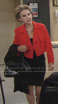 Gloria's red cropped jacket on The Young and the Restless