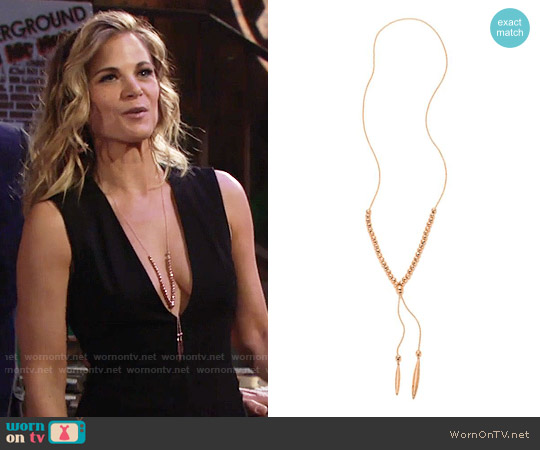 Gorjana Laguna Large Adjustable Lariat Necklace in Rose Gold worn by Gina Tognoni on The Young & the Restless