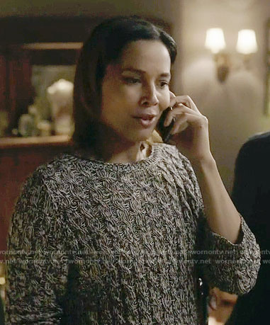 Hallie's marled cable knit sweater on Nashville