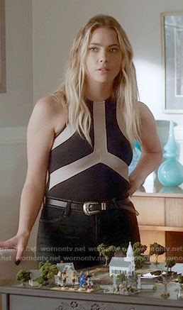 Hanna's black top with white stripes on Pretty Little Liars