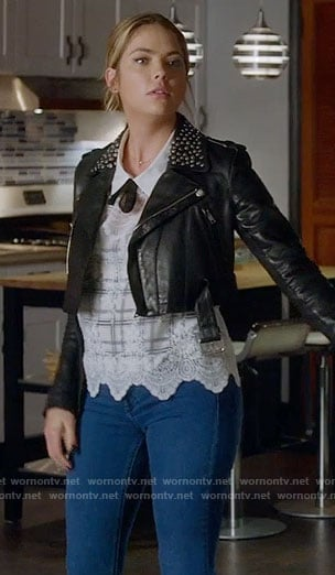 Hanna's white plaid lace top and cropped leather jacket with studded collar on Pretty Little Liars