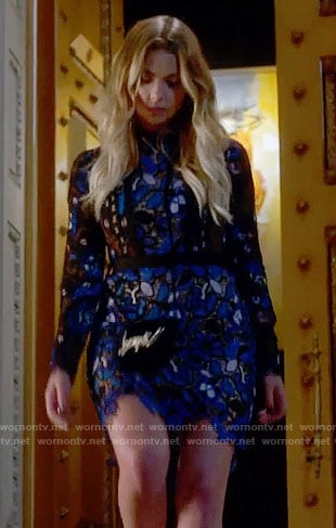 Hanna's blue lace long sleeve dress on Pretty Little Liars