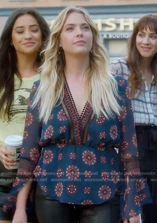 Hanna's blue medallion print blouse on Pretty Little Liars