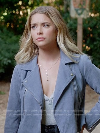 Hanna's blue suede moto jacket on Pretty Little Liars