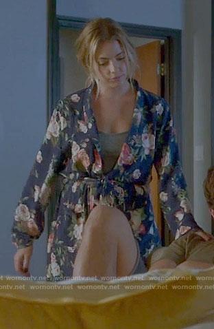 Hanna's blue rose print robe on Pretty Little Liars