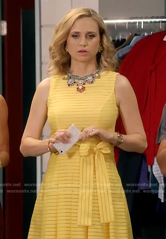Heather's yellow striped dress on Daytime Divas