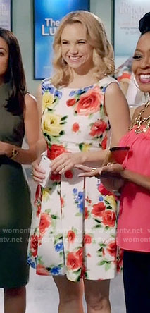 Heather's floral pleated dress on Daytime Divas