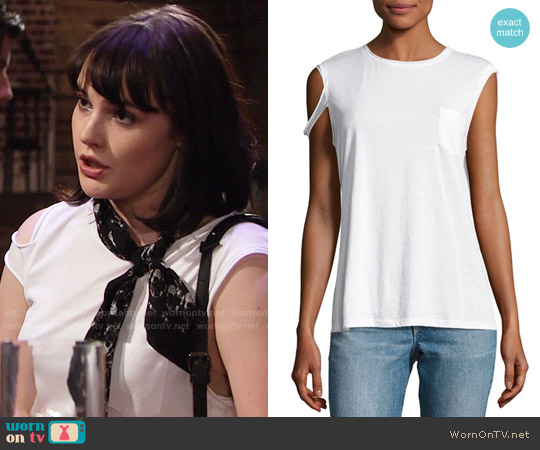 Helmut Lang Raw-Edge Pima Jersey Tee worn by Cait Fairbanks on The Young & the Restless