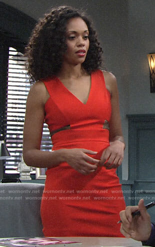 Hilary's red v-neck dress with mesh cutouts on The Young and the Restless