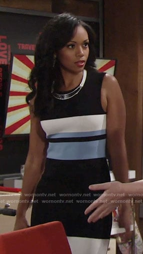 Hilary's black dress with blue and white stripes on The Young and the Restless