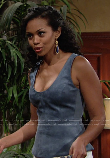 Hilary's blue suede top on The Young and the Restless