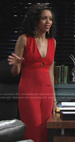 Hilary's red jumpsuit with cutouts on The Young and the Restless