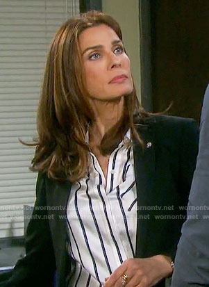 Hope's black and white striped shirt on Days of our Lives