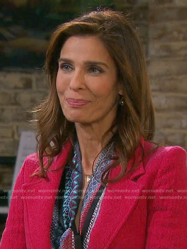 Hope's printed tie-neck blouse and red blazer on Days of our Lives