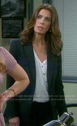 Hope's white asymmetric buttoned blouse on Days of our Lives