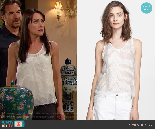 IRO Orso Burnout Silk Tank worn by Rena Sofer on The Bold & the Beautiful