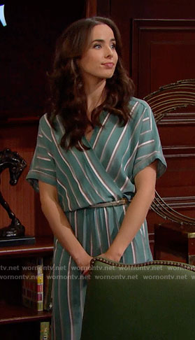 Ivy's green striped jumpsuit on The Bold and the Beautiful