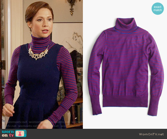 J. Crew Tippi turtleneck sweater in stripe worn by Ellie Kemper on Unbreakable Kimmy Schmidt