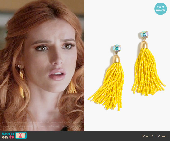J. Crew Beaded Tassel Earrings worn by Bella Thorne on Famous in Love
