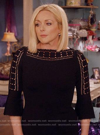Jacqueline's black laser cutout dress on Unbreakable Kimmy Schmidt