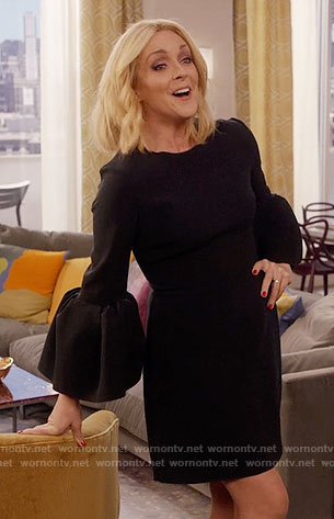 Jacqueline's black trumpet sleeve dress on Unbreakable Kimmy Schmidt