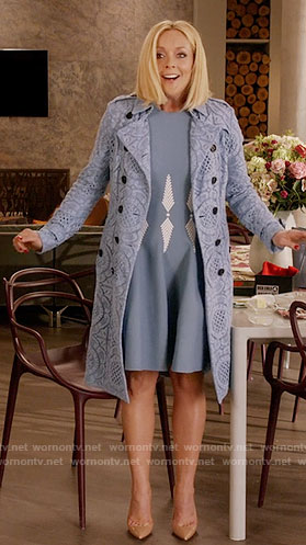 Jacqueline's blue dress and blue lace trench coat on Unbreakable Kimmy Schmidt