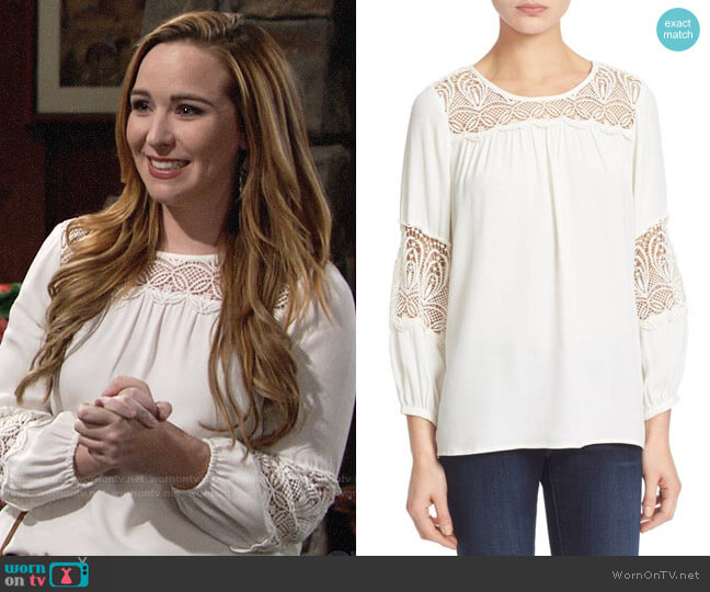 Joie Coastal Lace Inset Blouse worn by Camryn Grimes on The Young & the Restless