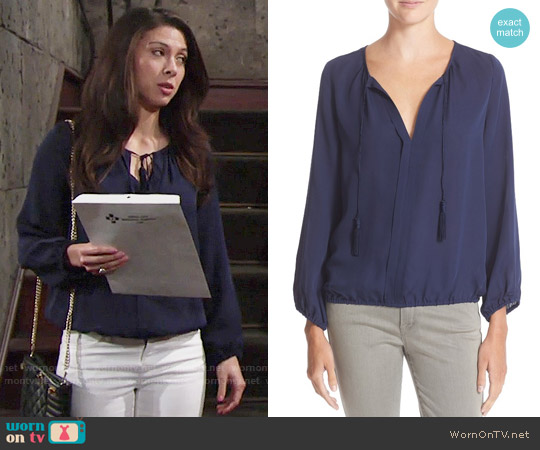 Joie Jacinta Blouse worn by Laur Allen on The Young & the Restless