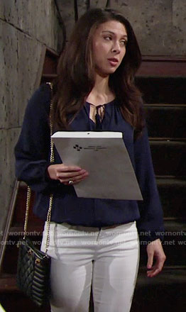 Juliet's navy blouse on The Young and the Restless