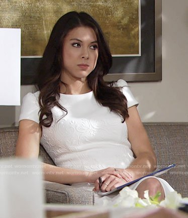 Juliet's white textured sheath dress on The Young and the Restless