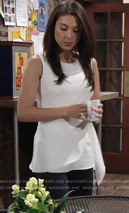 Juliet's white top with side tie on The Young and the Restless