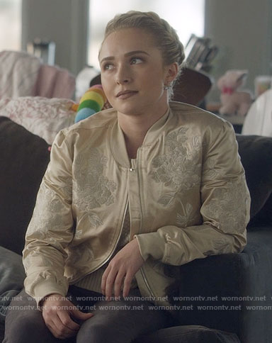 Juliette's cream embroidered bomber jacket on Nashville